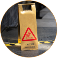 caution signage on floor